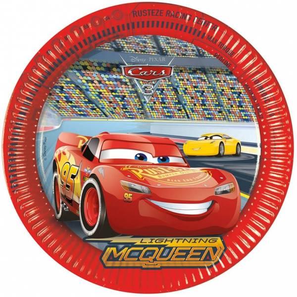 Bordjes Cars 3 23 cm: 8 stuks (87807p)