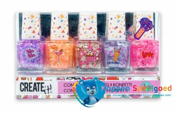 Create it! Nagellak confetti 5 potjes