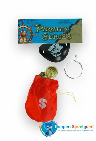 Piratenset ooglapje, muntjes en oorring in zakje