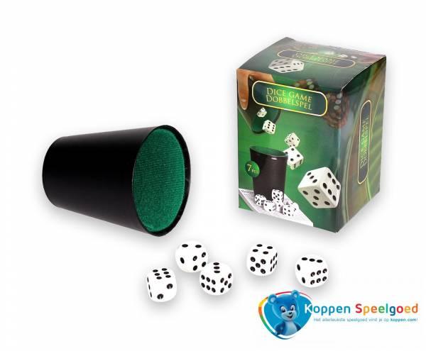 Spel dobbelstenen met beker