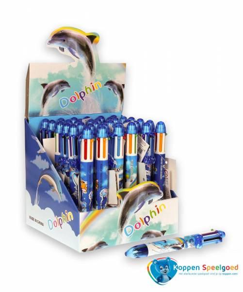 6 kleuren balpen dolfijn