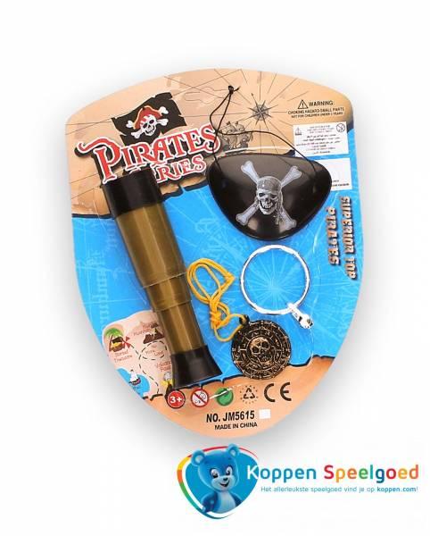 Piratenset met telescoop en drie extra accessoires