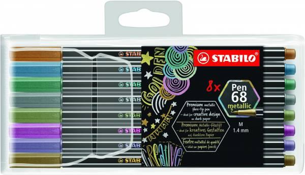 Viltstiften Stabilo Pen 68 Metallic: 8 stuks (6808/8-11)