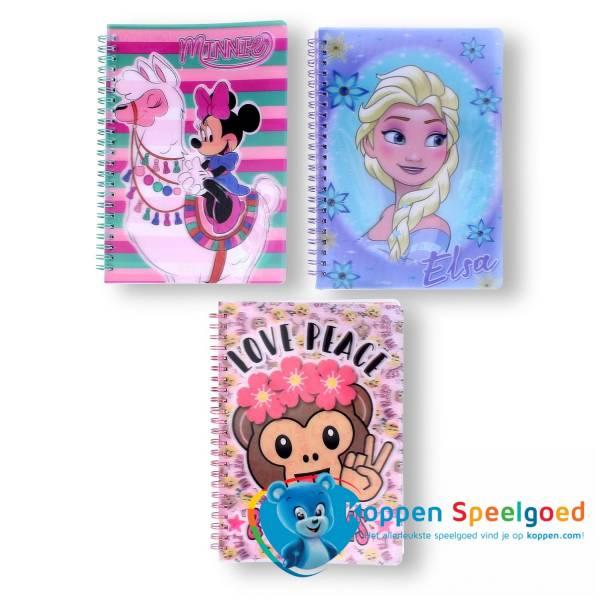 Disney notitieboek meisjes met 3D kaft