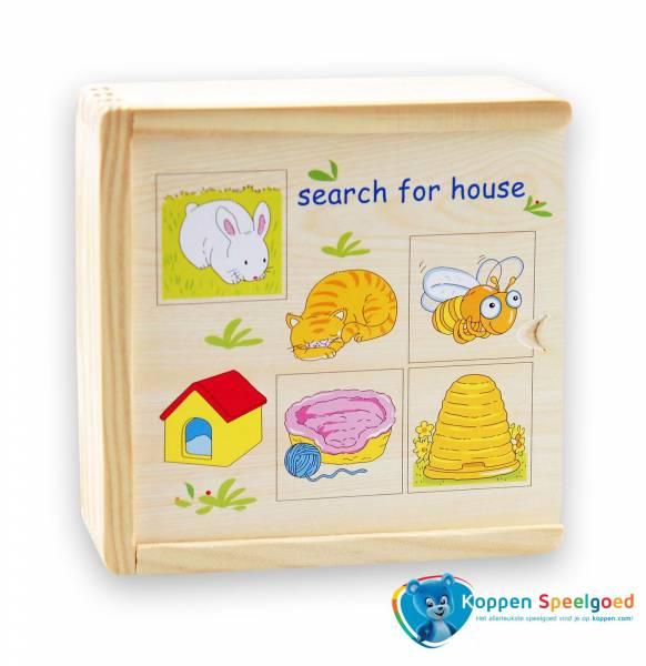 Zoek het huis van de dieren, hout