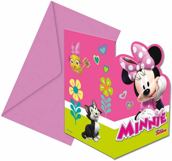 Uitnodigingen Minnie Mouse: 6 stuks (87867P)