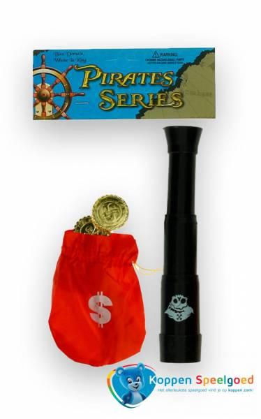 Piratenset telescoop met muntjes in zakje