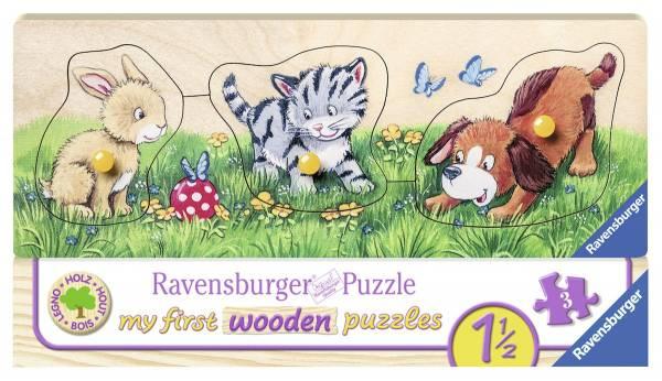 Puzzel schattige babydieren hout: 3 stukjes (03203 7)