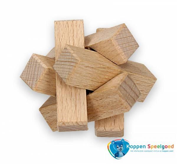 Ster kubus 3D in zakje, hout