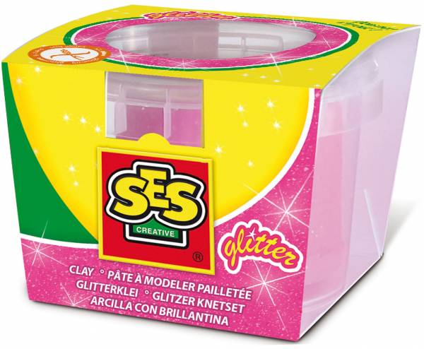 Klei SES: roze glitter 90 gram (00408)