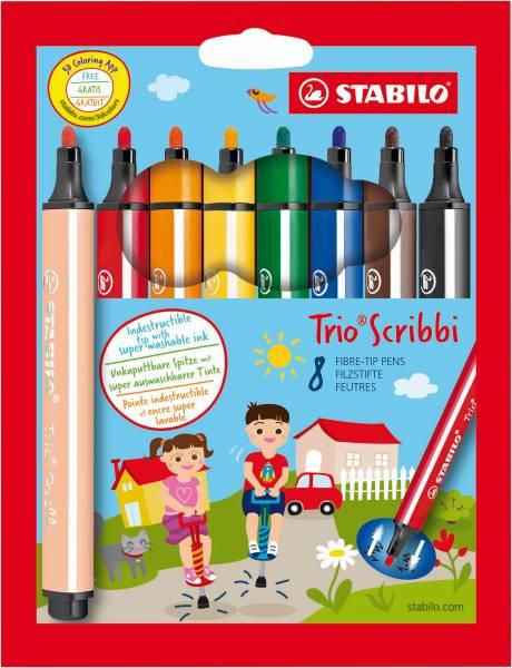 Viltstiften Stabilo Trio Scribbi 8 stuks