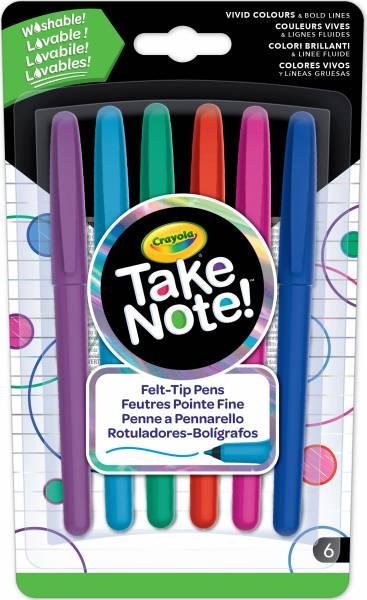 Take Note Afwasbare Viltstiften Crayola: 6 stuks ( 58-6532)