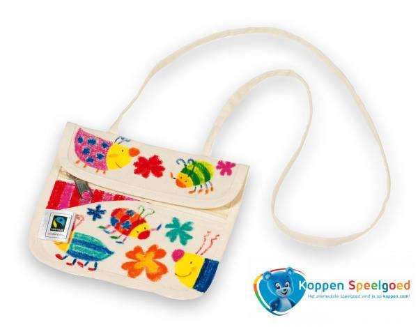 Kleur je eigen schoudertasje portemonnee, Fair Trade