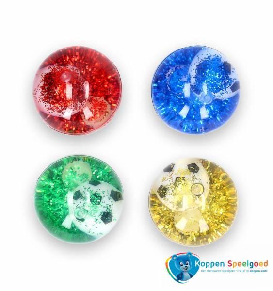 Stuiterbal voetbal met glitter 6,5 cm