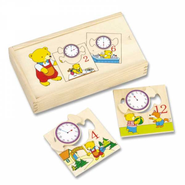 Puzzel leren klok lezen, hout