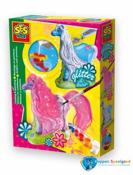 SES Gipsgieten paard met glitter en haar