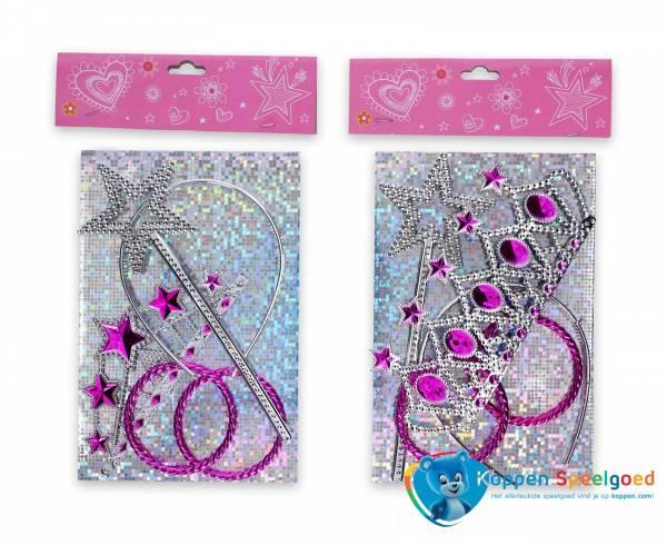 Prinsessenset, kroontje,stafje en 3 armbanden