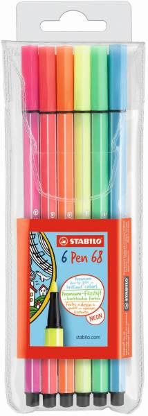 Viltstiften Stabilo pen 68 neon 6 stuks