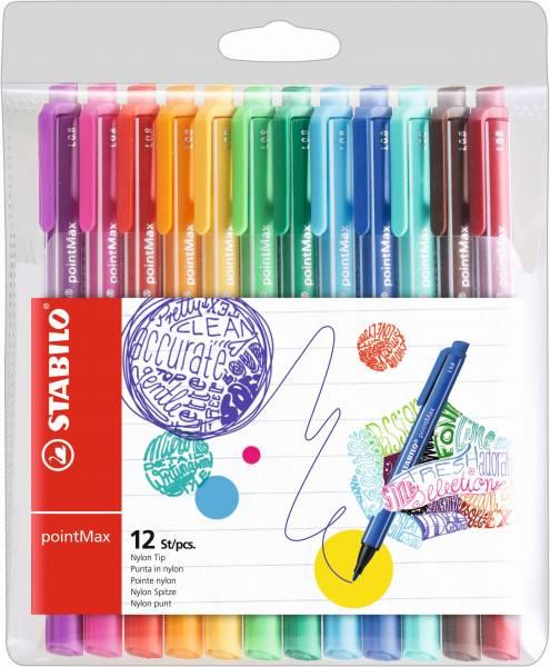 Viltstiften Stabilo PointMax 12 stuks