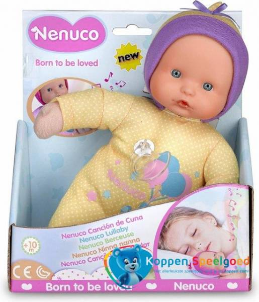 Pop Nenuco soft met slaapliedje: geel 25 cm (70001 4038)