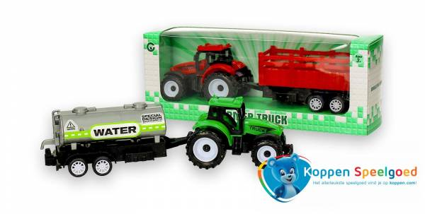 Tractor met aanhanger in doos