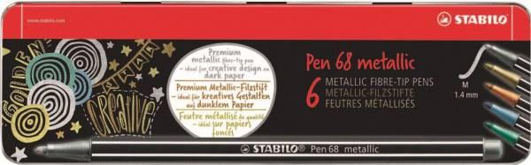 Viltstiften Stabilo pen 68 metalen doos: 6 stuks ( 6806/8-32)