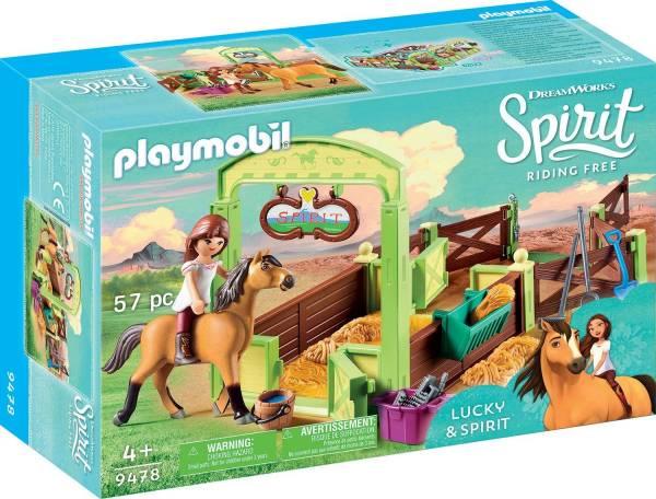 Lucky en Spirit met paardenbox Playmobil (9478)